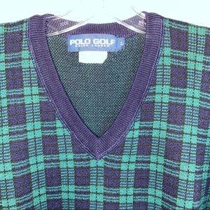 Polo Ralph Lauren Golf Watch Plaid Sweater Vtg